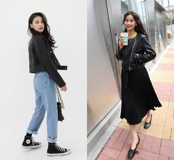 除了黑皮衣+黑褲or牛仔褲,我們也可以把下身換成飄逸的黑長裙,搭上一雙皮質的淑女鞋,不僅視覺更輕盈,也更能在全黑的穿搭之下凸顯皮衣的亮點,善用黑色的低調氣質,這兩種搭配都是日常也能穿出態度的好組合啊!