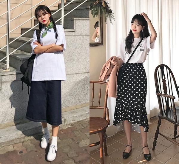 所以要偽EXO女友,這套絕對是衣櫃必備!但身為凡人,光是白踢+黑褲的組合,120%會直接被當路人(我們不像他們有自備光芒啊QQ)所以我們得在細節花點小心思,白踢上加個領巾或把下身換成黑長裙都是很好的嘗試,在白色短袖上衣和黑下身的搭配裡,找到適合自己風格和身形的組合就是最好的選擇~