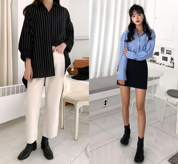 至於我們這些偽女友呢,XIUMIN那款黑襯衫雖然有點陽剛,但把下身換成硬挺的西裝褲或褲管微寬的喇叭褲款,都是可以稍稍修飾man氣的搭配,而藍條紋的款式則多了份女人味,想再特別一點也可以選擇寬領或袖口偏寬的款式。條紋襯衫的穿搭裡,可以活用髮型和鞋款的變化,讓整體看起來俐落卻不失女人味。