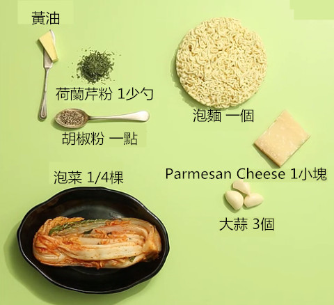 以上就是準備食材!如果買不到Parmesan cheese,也可以直接用起司粉來代替。